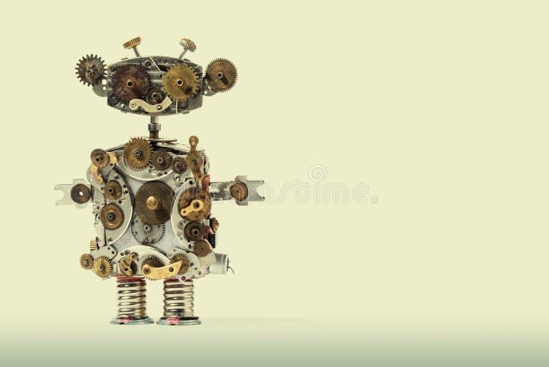 Mechanischer Roboter Steampunk Gealterte Gänge, Zahnrad-Handuhr zerteilt Mechanismus Schäbige Schmutzkratzer-Metallbeschaffenheit stockbild