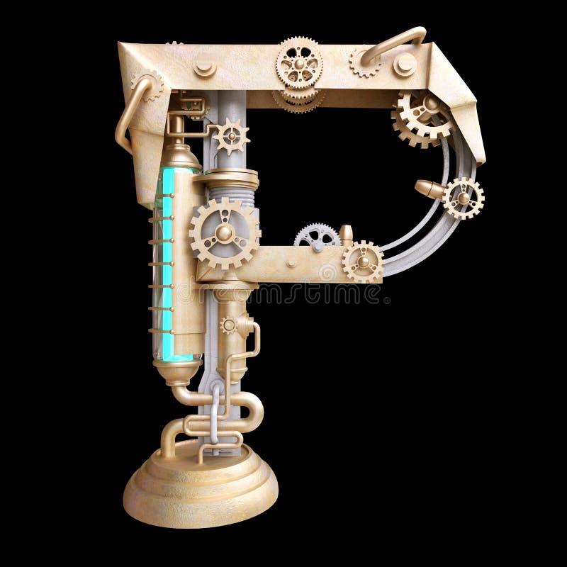 Mechanisches Alphabet gemacht vom Eisen lizenzfreie abbildung
