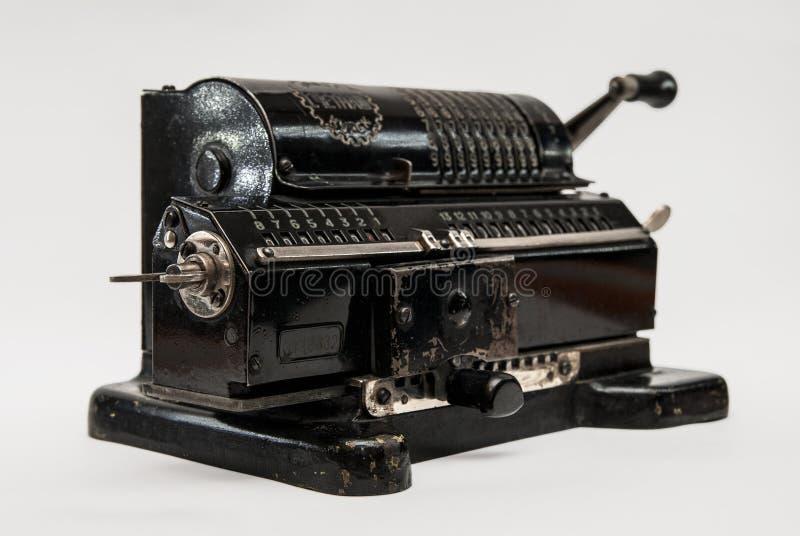 Mechanisches arithmometer - Taschenrechner hergestellt in UDSSR stockfoto