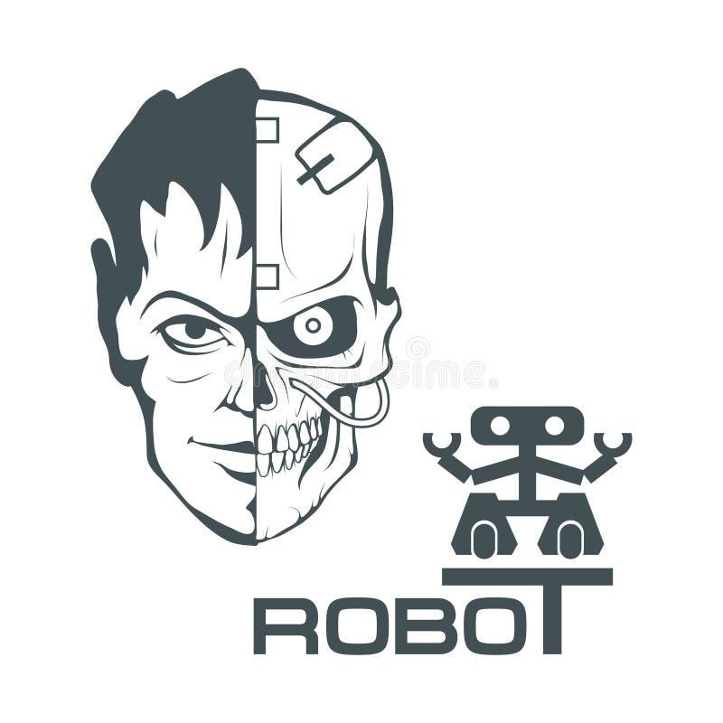 Mechanisches menschliches Gesicht Roboterlogo für Design automatismus stock abbildung