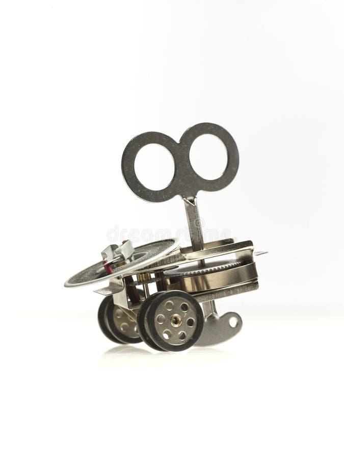 Mechanisches Spielzeug mit wickeln oben Taste lizenzfreies stockbild