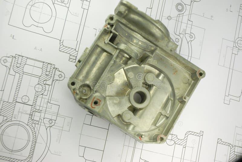Download Mechanisches Teil Auf Konstruktionszeichnung Stockbild - Bild von druck, gearstick: 9099291