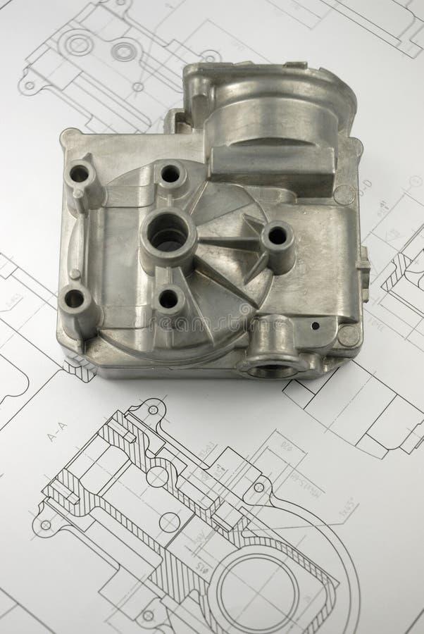 Download Mechanisches Teil Auf Konstruktionszeichnung Stockbild - Bild von graphik, technisch: 9099297