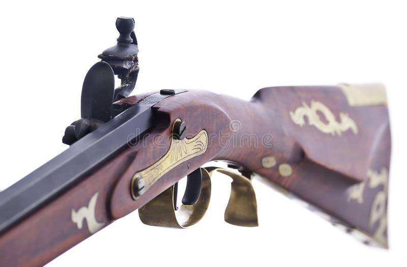 Mechanisim del bloqueo del pedernal en un rifle de la reproducción imagenes de archivo