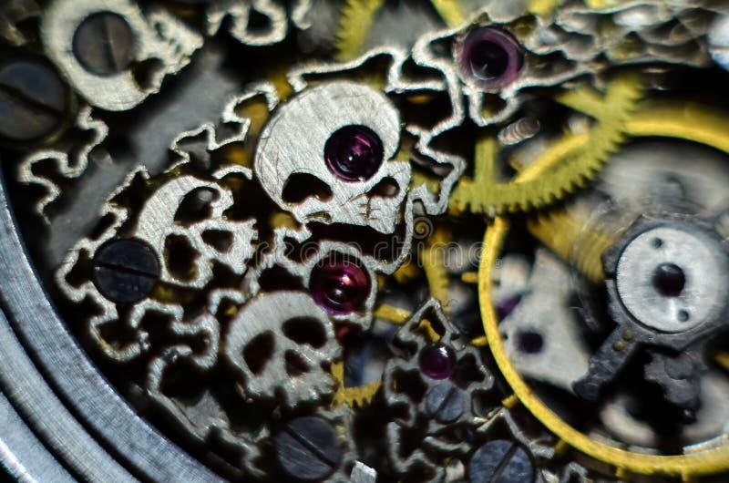 Skeleton hours. Antique antique clockwork, jewelry engraving. mechanical pocket watch close-up, selective focus. Mechanism with gears. clockwork skeleton stock image