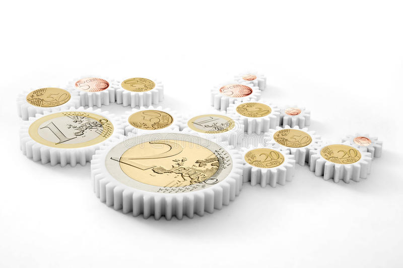 Mechanism of gears with euro coins stock images