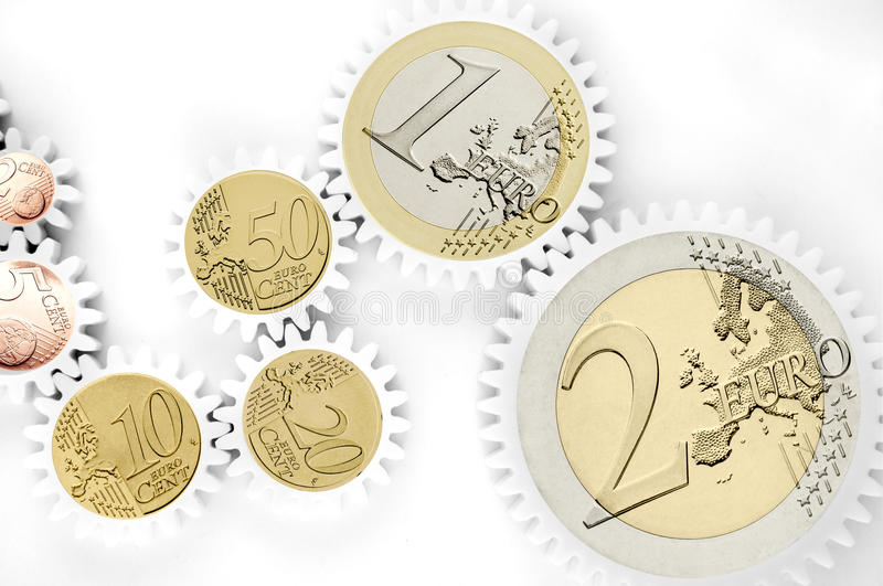 Download Mechanism Of Gears With Euro Coins Stock Image - Image: 29688249