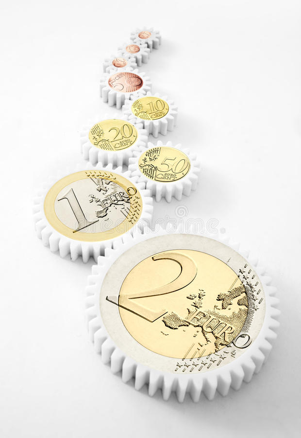 Download Mechanism Of Gears With Euro Coins Stock Photo - Image: 29688260