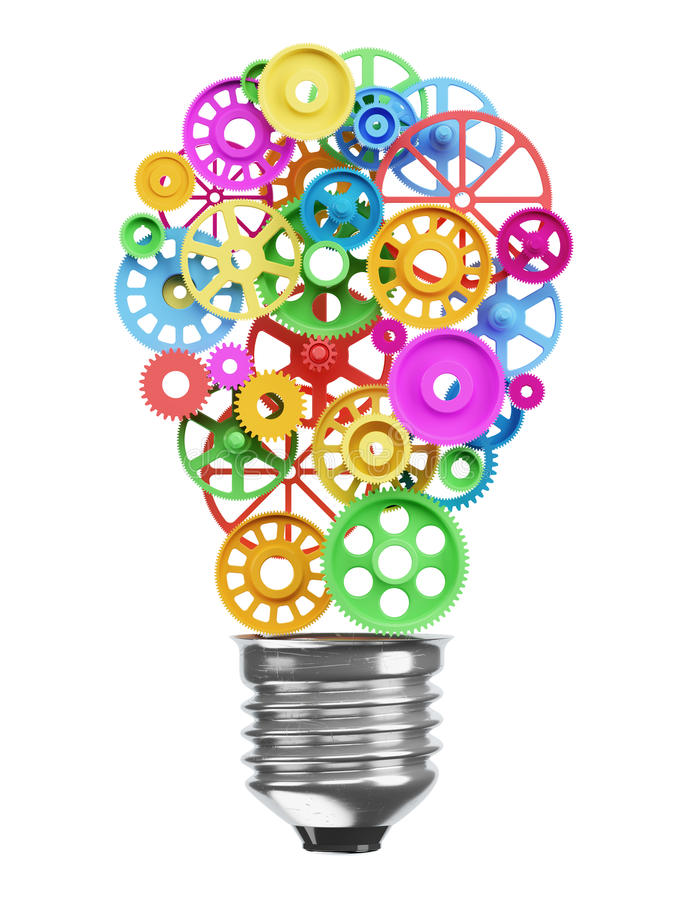 Mechanism of the gears in the form of an electric lamp bulb. Ide. A concept royalty free illustration