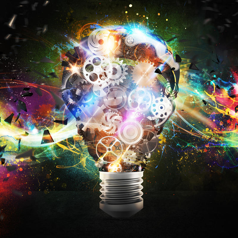 Mechanism gears lighting lightbulb. 3d rendering royalty free stock photos