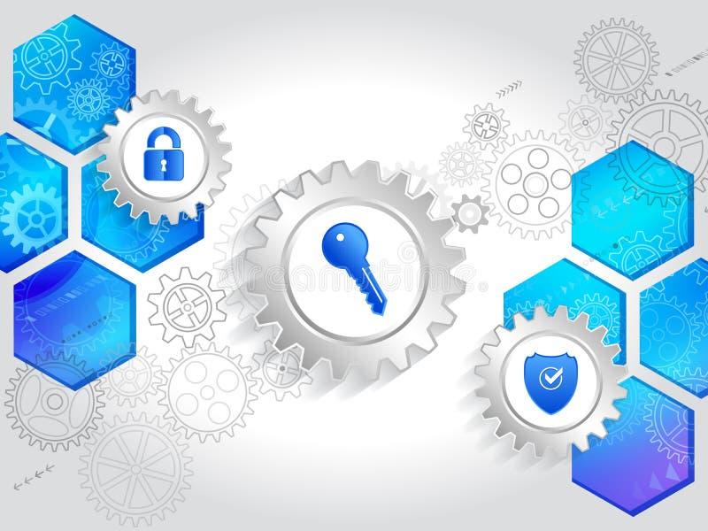 Mechanismen voor geïntegreerde gegevensbescherming in het netwerk stock illustratie