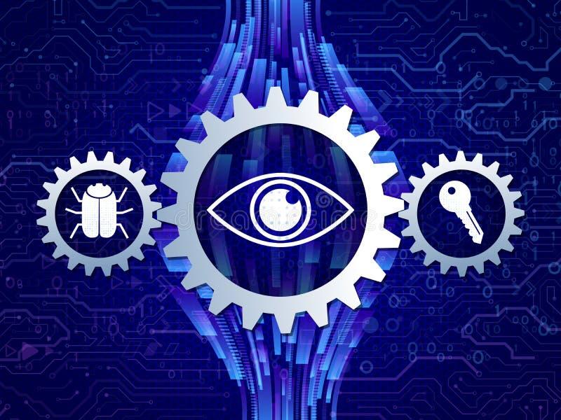 Mechanismen voor geïntegreerde gegevensbescherming in het netwerk vector illustratie