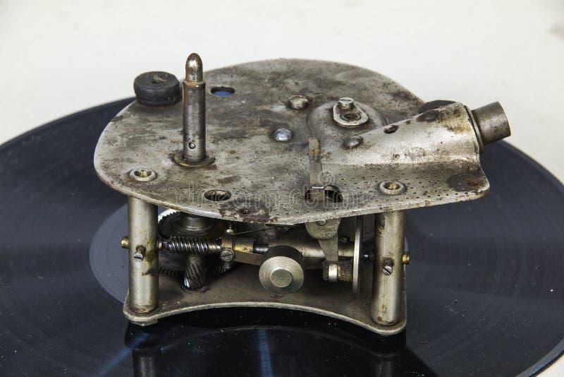 Mechanizm starzy gramophoneCircles droga fotografia royalty free