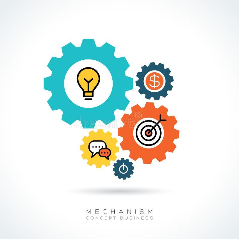 Mechanizmu pojęcia przekładni Biznesowe ikony ilustracyjne ilustracji