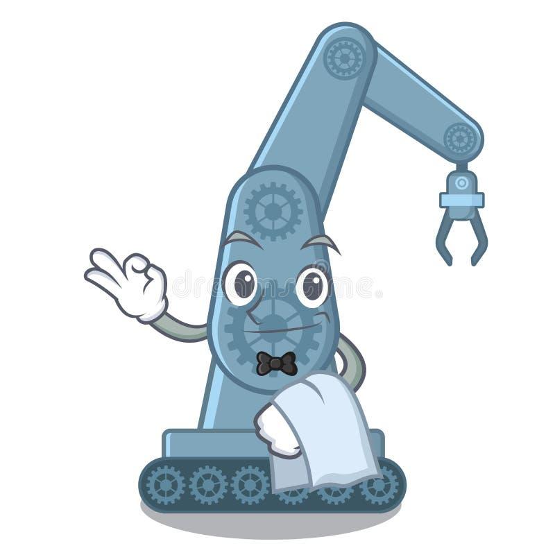 Mechatronic robotarm för uppassare ovanför tecknad filmtabellen royaltyfri illustrationer