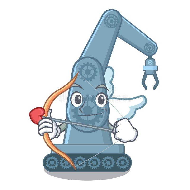 Mechatronic robotic arm för kupidon som isoleras på tecken vektor illustrationer