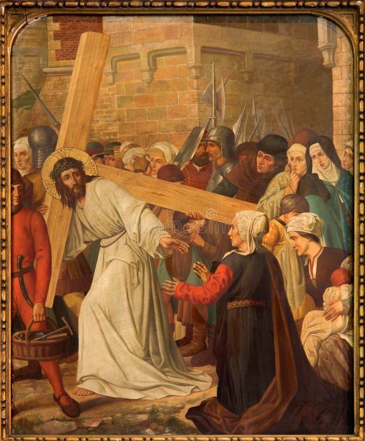 Mechelen - ο Ιησούς συναντά τις γυναίκες της Ιερουσαλήμ. Μέρος ο διαγώνιος κύκλος τρόπων από. το σεντ 19. σε onze-Lieve-Vrouw ν-Ha στοκ φωτογραφία με δικαίωμα ελεύθερης χρήσης