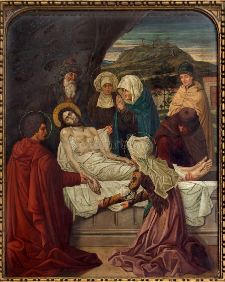 Mechelen - Begrafenis van Jesus. Dwarsmaniercyclus van. cent 19. in de kerk van onze-Lieve-Vrouw n-Hanswijkbasiliek royalty-vrije stock foto's