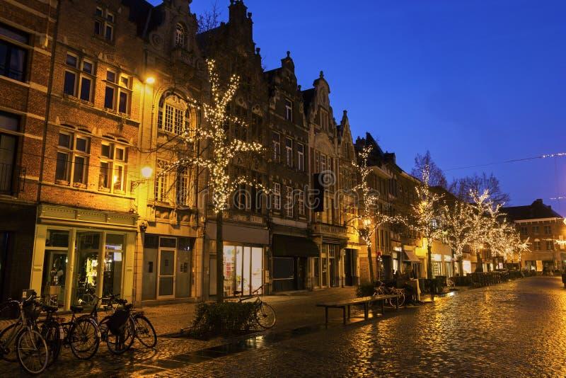 Mechelen in België tijdens Kerstmis stock afbeelding