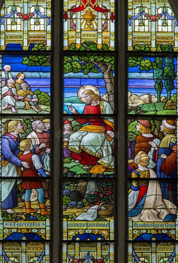Mechelen - Bergpredigt die Szene von der Fensterscheibe in Kathedrale St. Rumbolds stockbild