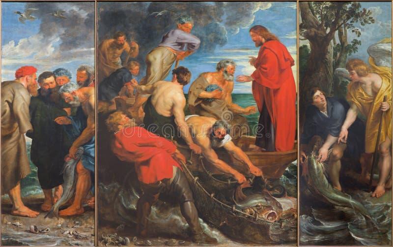 Mechelen - cudu połowu tryptyk Peter Paul Rubens w kościół Nasz dama przez De Dyl (1618) obraz royalty free