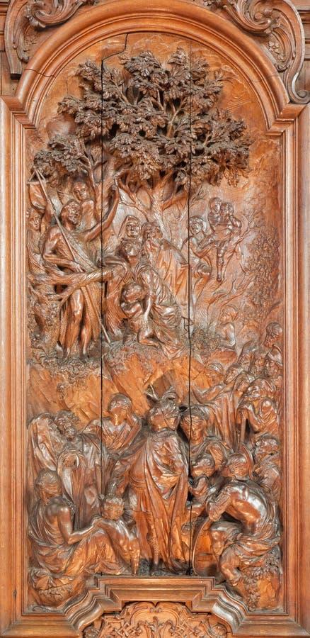 Mechelen - cyzelowanie egzorta st John Baptystyczna scena Ferdinand Wijnants w st Johns kościół obrazy royalty free