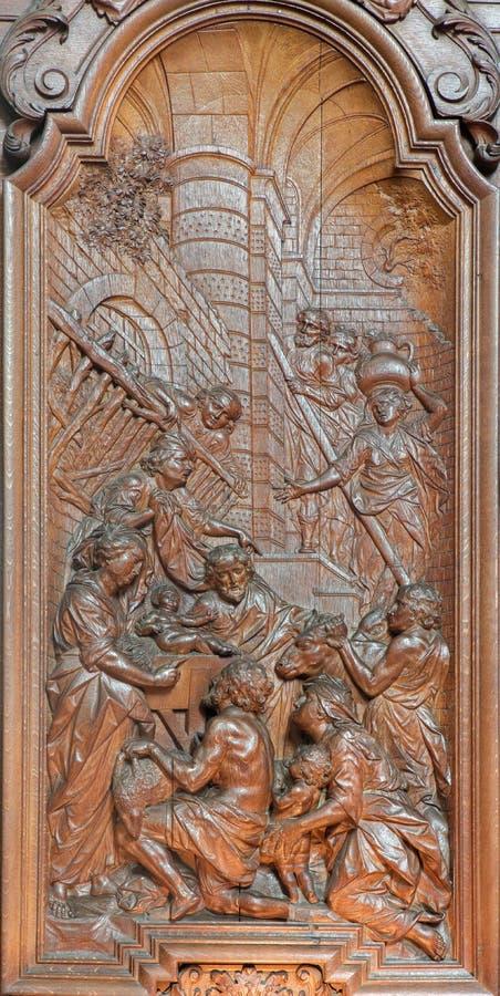 Mechelen - cyzelowanie narodzenie jezusa scena Ferdinand Wijnants w st Johns kościół lub Janskerk od zaczynamy 20 cent obrazy royalty free
