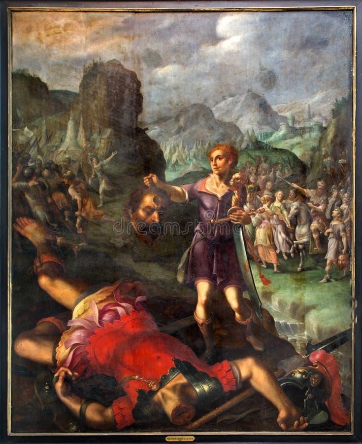 Mechelen - David och kolossplats. Måla vid målaren De Sayvede Oude från året 1624 i St. Rumbolds arkivbilder