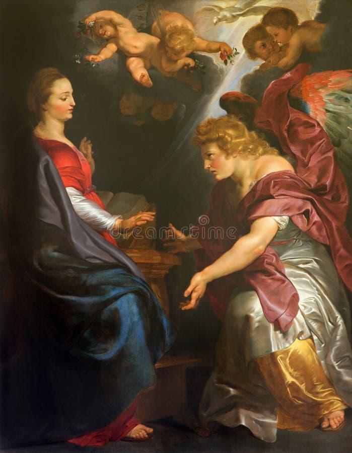 Mechelen - de Aankondiging door Peter Paul Rubens in st Johns kerk of Janskerk royalty-vrije stock afbeelding