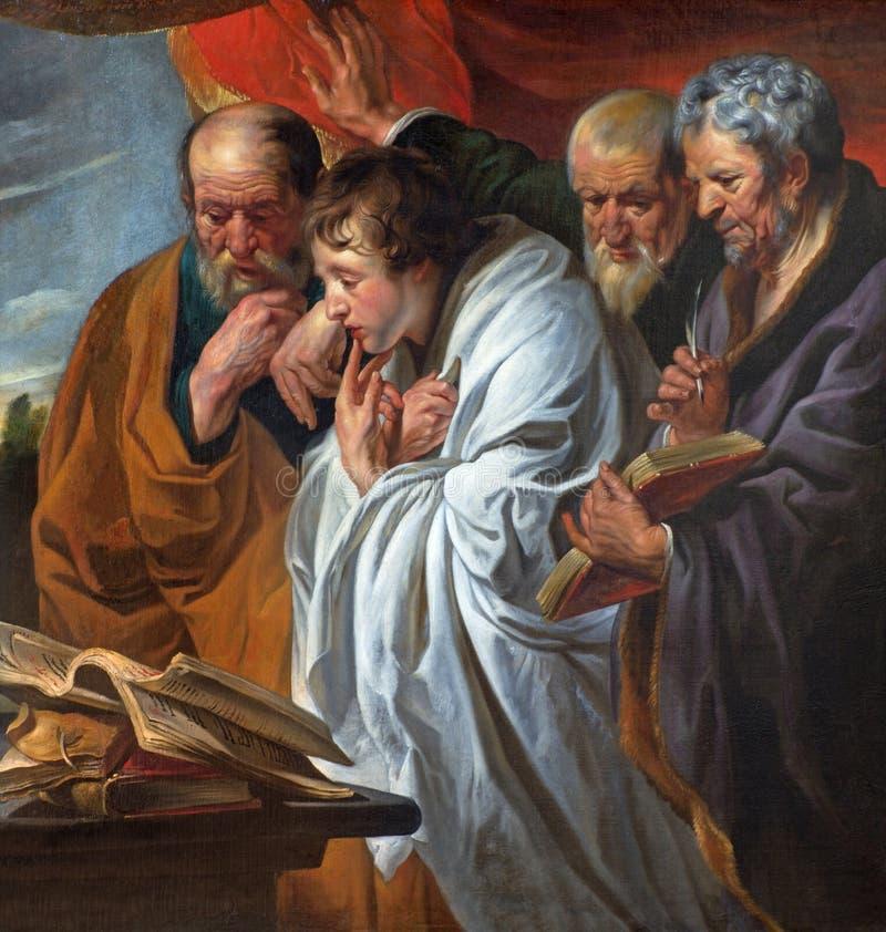 Mechelen - de fyra evangelisterna vid den Joraens skolan (cca1620) Den original- målarfärgen av förlagen är i Louvremuseet arkivbild