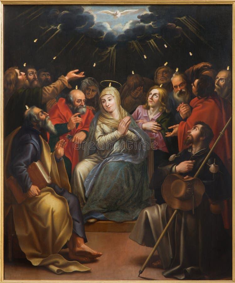 Mechelen - den op pingstdagenplatsen för målarfärg av den okända målaren i den St Johns kyrkan eller Janskerk royaltyfria foton
