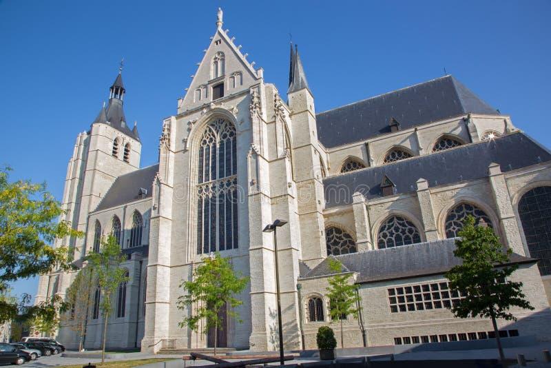 Mechelen - Gotische kerk van Onze Dame over DE Dyle stock foto's