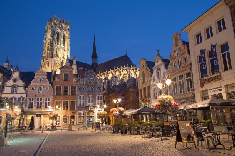 Mechelen - Grote markt och domkyrka för St. Rumbolds i evenigskymning royaltyfri foto
