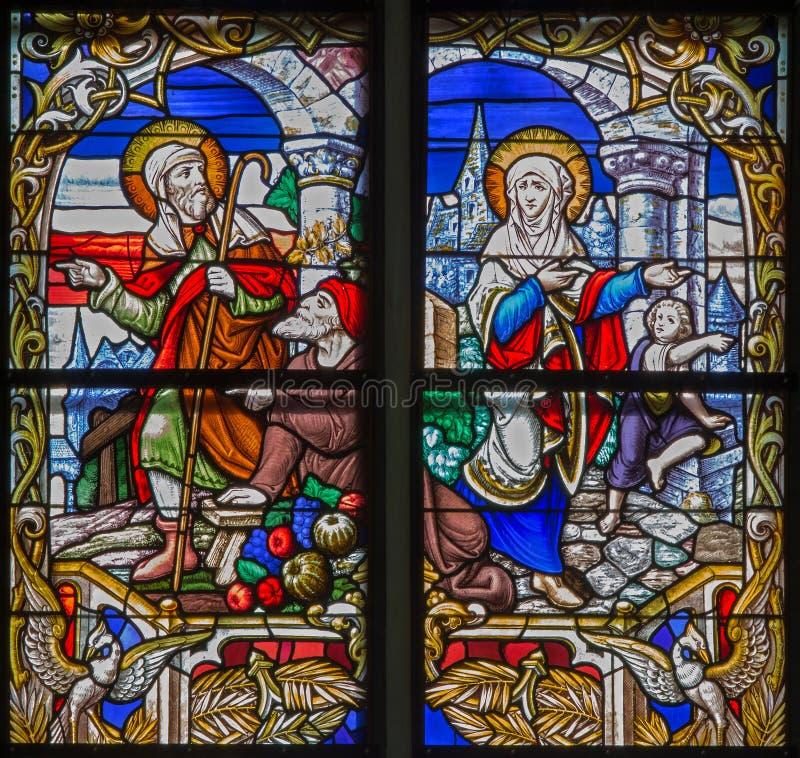 Mechelen - hallazgo de Jesús perdido del cristal de la catedral del St. Rumbold foto de archivo libre de regalías