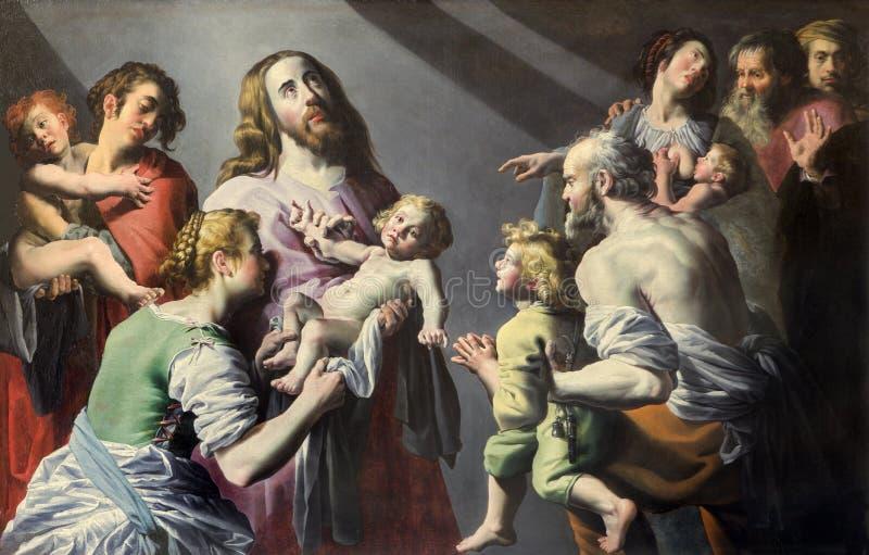 Mechelen - Jesus med barnmålarfärgen i den St Johns kyrkan eller Janskerk från börjar av 20 cent arkivfoto