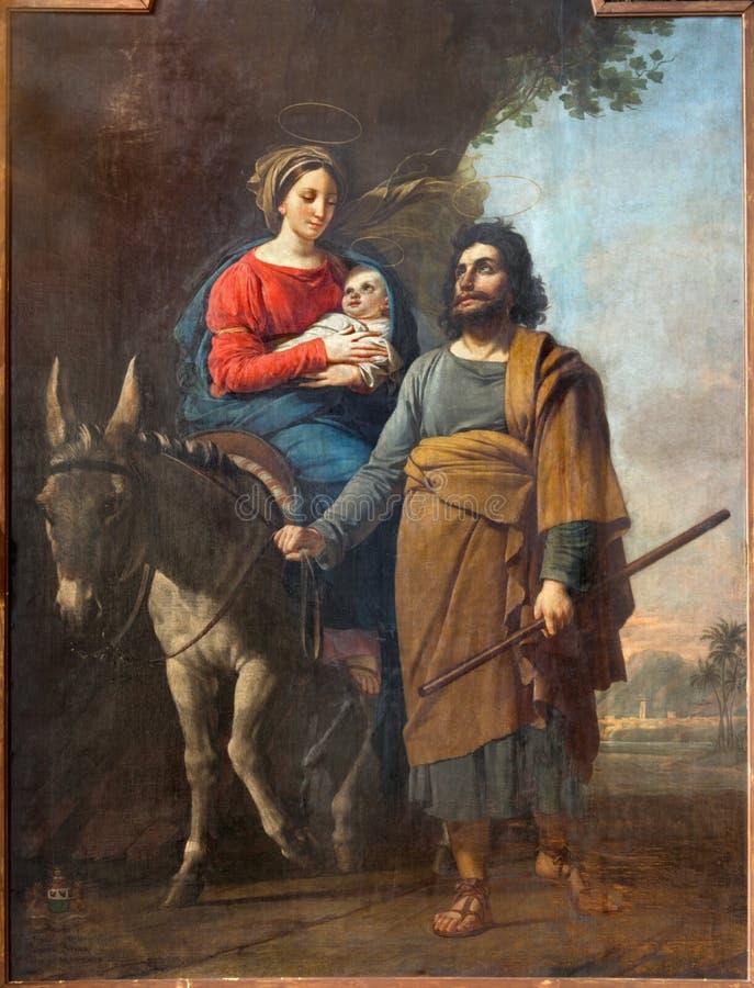 Mechelen - målarfärg av flugan till Egypten av Jozef Paelinck (1829) i kyrka för st Katharine arkivfoto