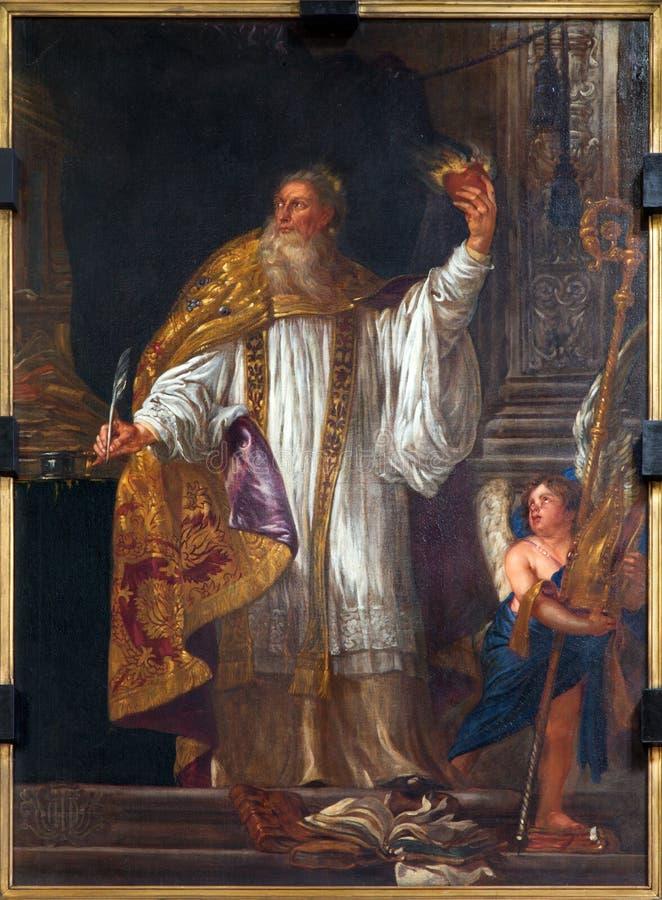 Mechelen - målarfärg av St Augustine - stor lärare av den västra katolska kyrkan arkivbild