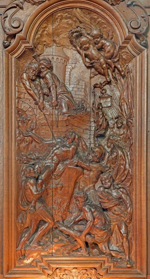 Mechelen - męczeństwo święty John ewangelista w bedni gotowanie olej Ferdinand Wijnants w st Johns Janskerk lub kościół obraz royalty free