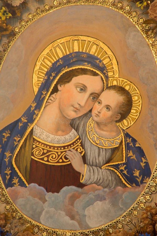 Mechelen - Madonna från kyrka eller Katharinakerk för st Katharine royaltyfri bild