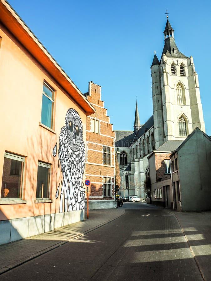 Street art by city artist Gijs Van Hee stock photography