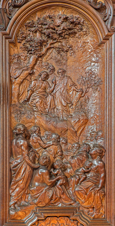 Mechelen - rzeźbiąca egzorta Jezus na góry scenie Ferdinand Wijnants w st Johns Janskerk lub kościół zdjęcia stock