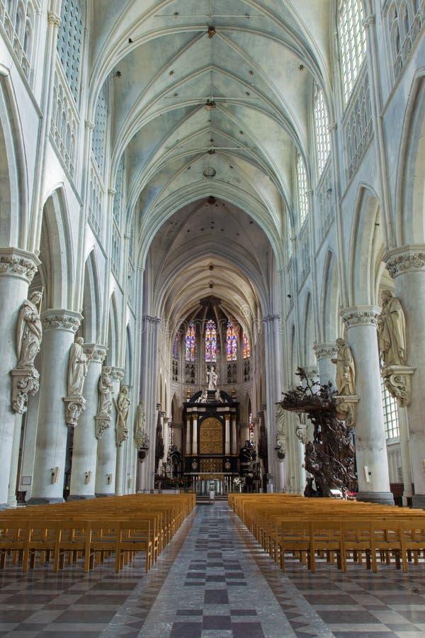Mechelen - skepp av domkyrkan för St. Rumbolds fotografering för bildbyråer