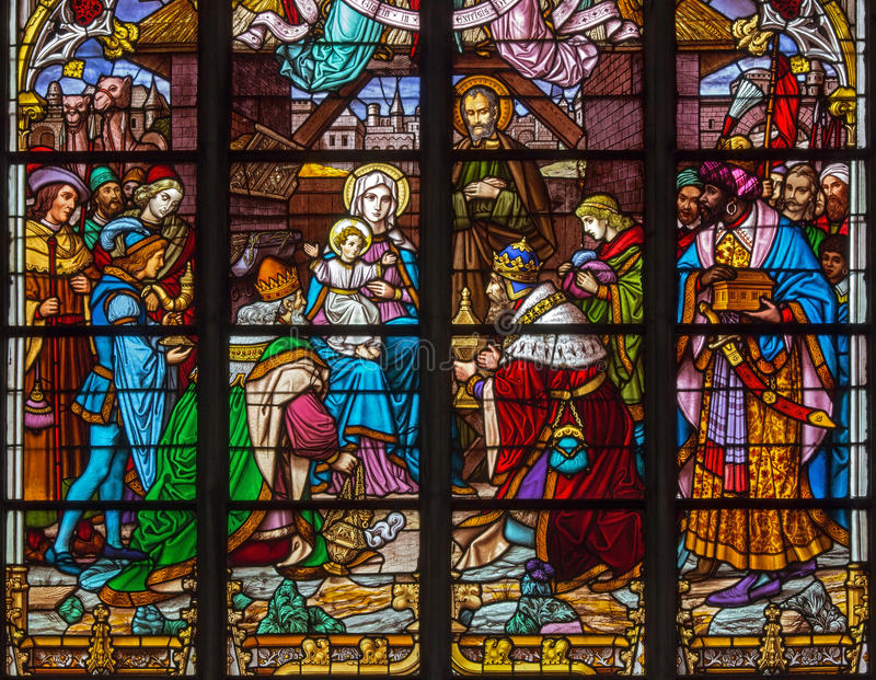 Download Mechelen - Three Magi Scene From Windowpane Of St. Rumbold's Cathedral Stock Image - Image: 33587013