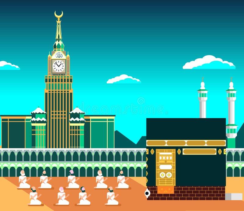 Mecka eller Makkah, med Kaaba & muslims ber, den plana designillustrationen med dagsljusbanret eller affischen stock illustrationer