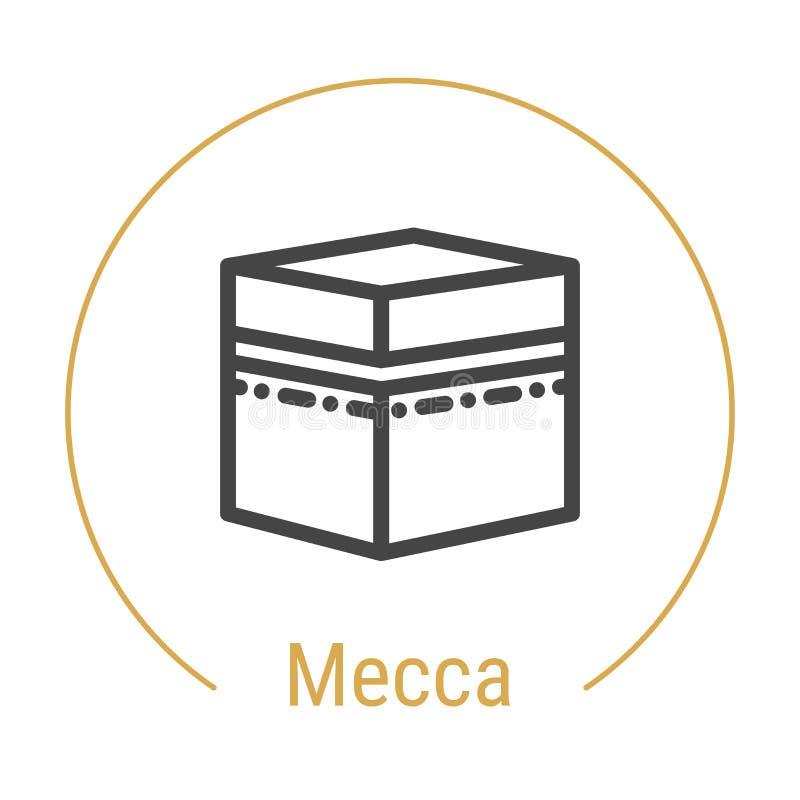Mecka eller Makkah, Saudiarabien vektorlinje symbol vektor illustrationer