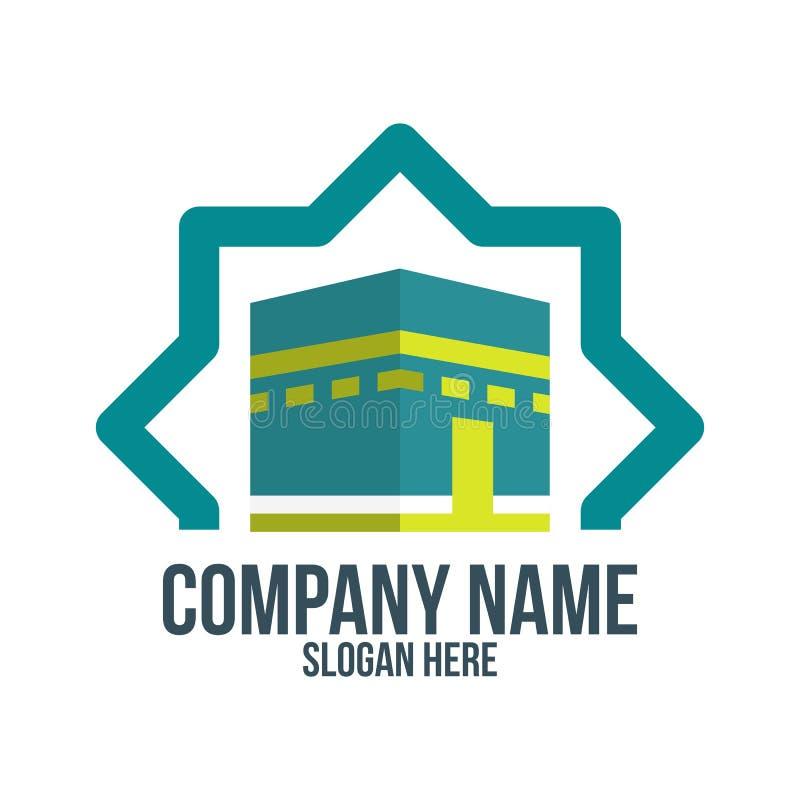 Mecka, hajj, omrah, umrah, kaaba, moské, muslim, islam och abstrakt begrepp logo, symbol, idé, symbol och märke för företag, royaltyfri illustrationer