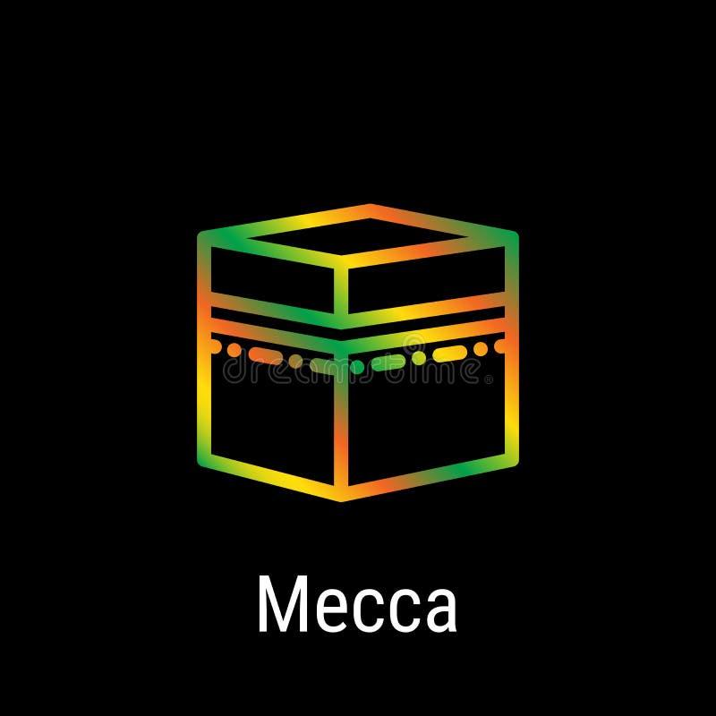 Mecka Makkah, Saudiarabien vektorlinje symbol stock illustrationer