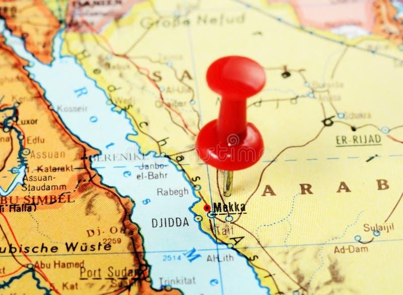Mecque, carte de l'Arabie Saoudite photos stock