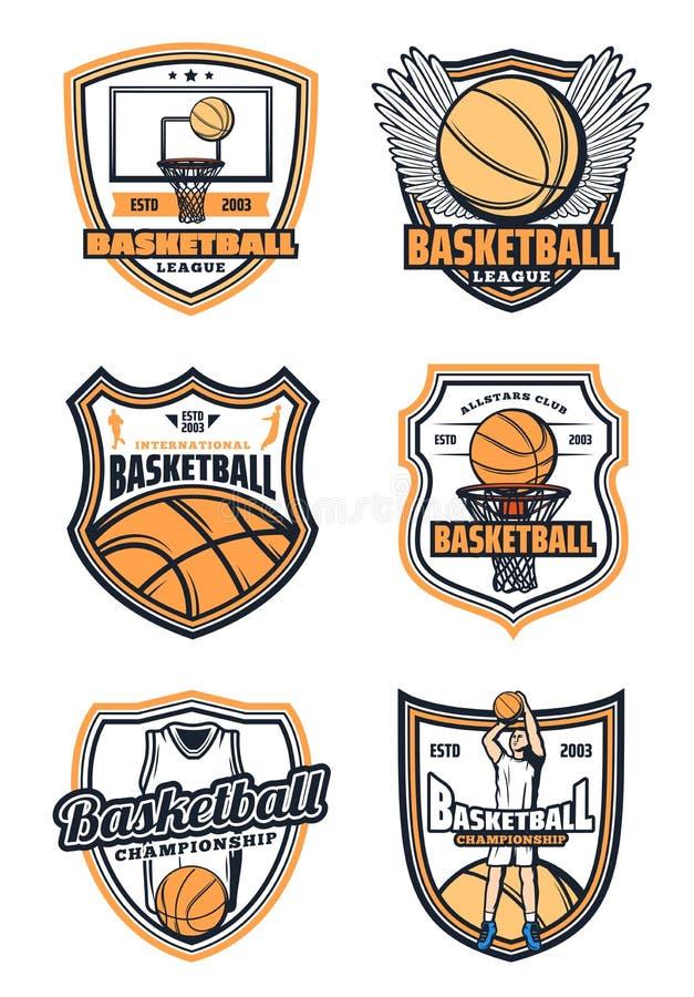 Mecz koszykówki odznaki i sport ikony ilustracja wektor