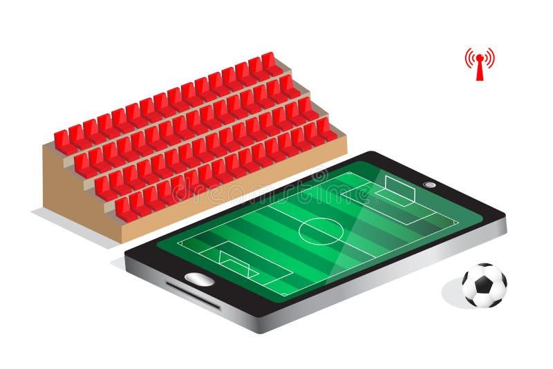 Mecz piłkarski żywy na wiszącej ozdobie ilustracja wektor